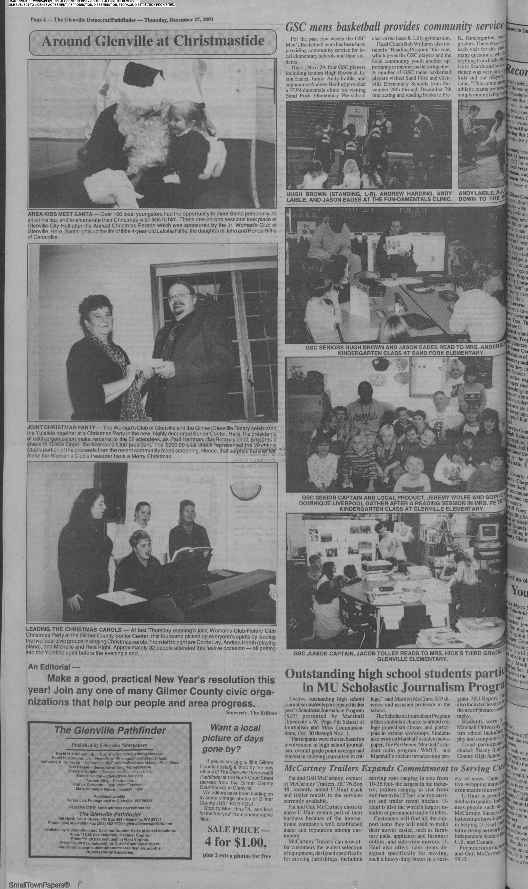 Glenville High School Christmas Party 2020 The Glenville Democrat December 27, 2001: Page 16